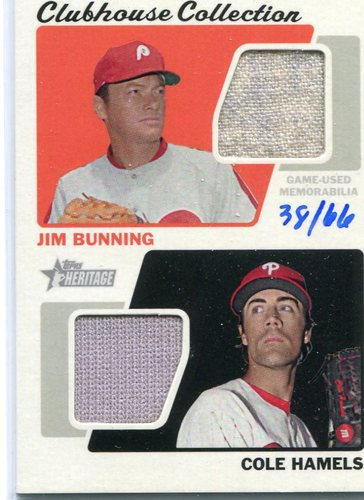 Photo of 2015 Topps Heritage Clubhouse Collection Dual Relics Jim Bunning/Cole Hamels 38/66