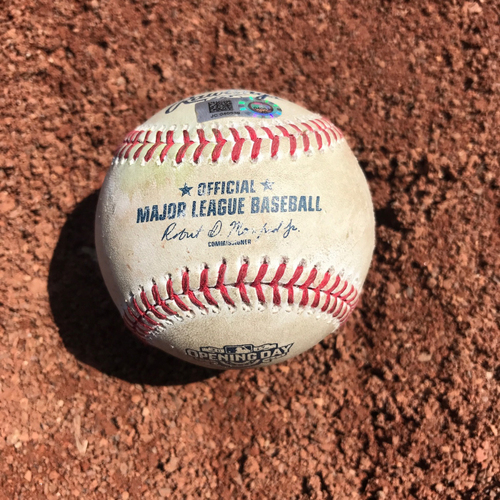 Photo of San Francisco Giants - Home Opening Day - Game Used Ball - B4 Matt Moore hits into fielders choice: Crawford, Panik and Parker score on throwing errors, plus Span ball in dirt