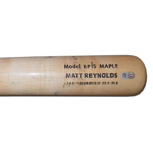 Photo of Matt Reynolds #15 - Game Used Cracked Bat - Maroon and Beige Chandler Model - Mets vs. Mariners - 7/30/17
