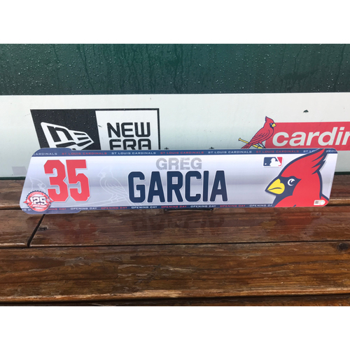 Cardinals Authentics: Greg Garcia Opening Day Locker tag