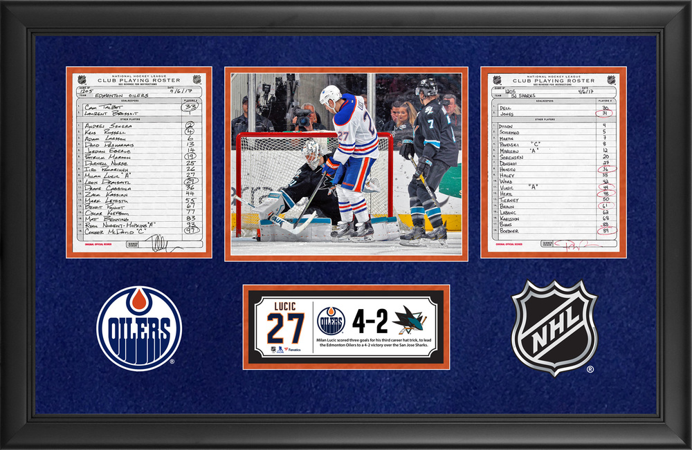 Edmonton Oilers Framed Original Line-Up Cards From April 6, 2017 vs. San Jose Sharks - Milan Lucic's Third Career Hat Trick