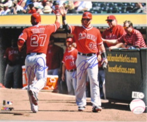 Photo of Mike Trout and Josh Hamilton Dual Signed 16x20 Photograph (High Five)