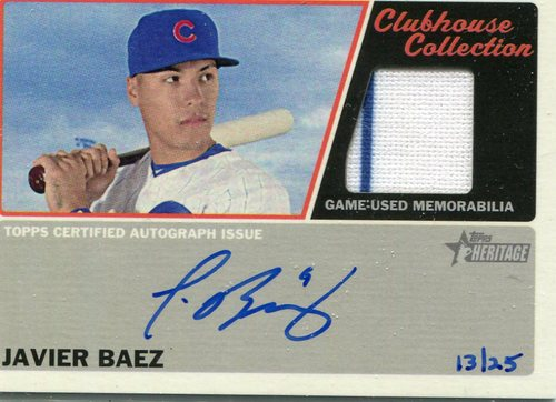 Photo of 2015 Topps Heritage Clubhouse Collection Relic Autographs #CCARJB Javier Baez 13/25