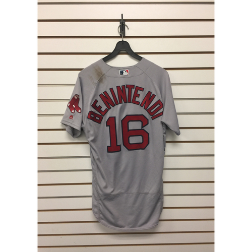 Photo of Andrew Benintendi Game-Used July 22, 2017 Road Jersey
