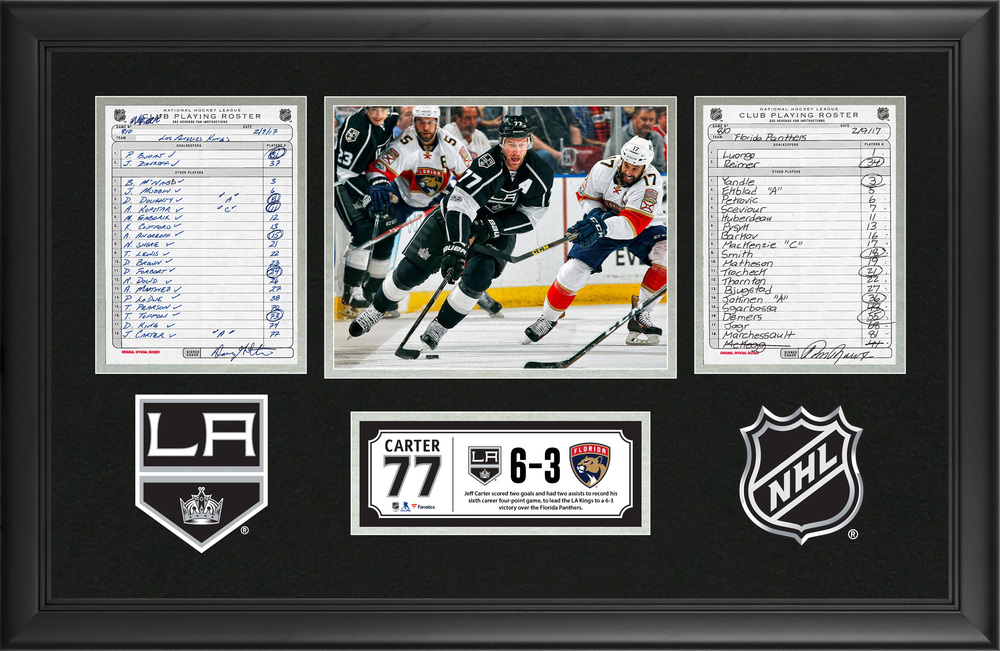 LA Kings Framed Original Line-Up Cards From February 9, 2017 vs. Florida Panthers - Jeff Carter's Sixth Career Four-Point Game