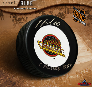 PAVEL BURE Signed Vancouver Canucks Vintage Puck with