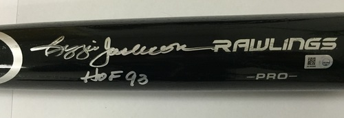 "Photo of Reggie Jackson Autographed ""HOF 93"" Black Rawlings Bat"