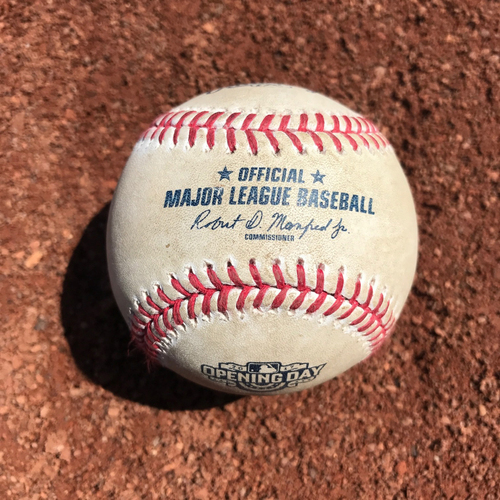 Photo of San Francisco Giants - Home Opening Day - Game Used Ball - B1 Denard Span doubles off Taijuan Walker: 1st hit at AT&T in 2017
