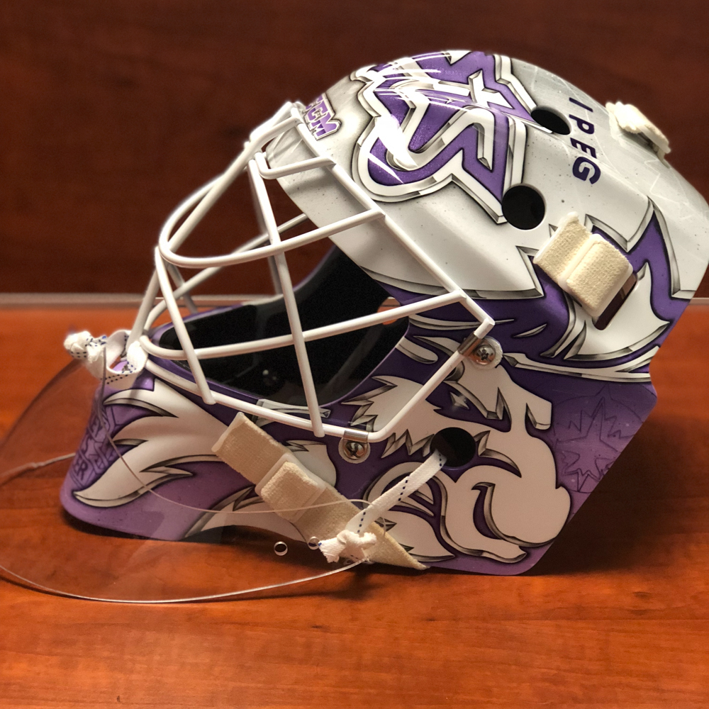 MICHAEL HUTCHINSON Game Worn Autographed Hockey Fights Cancer Mask