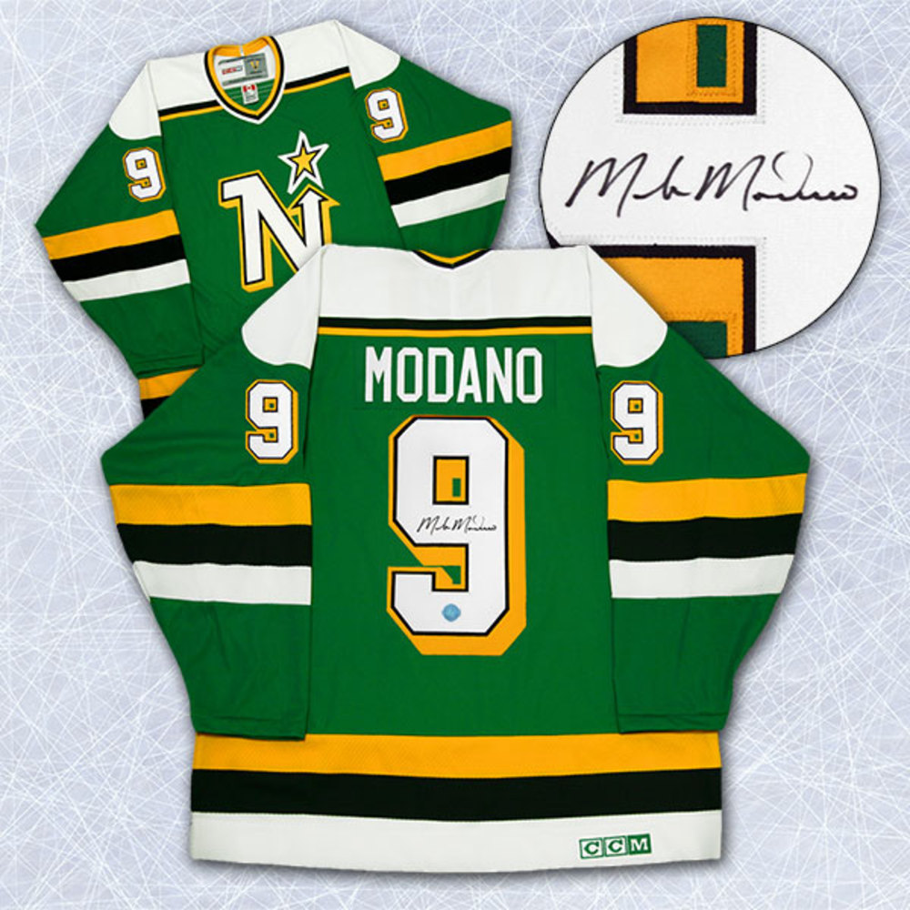 Mike Modano Minnesota North Stars Autographed Rookie Retro CCM Hockey Jersey