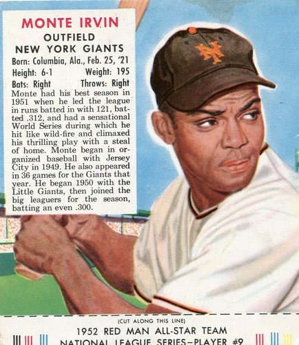 Photo of 1952 Red Man #NL9 Monte Irvin -- with tab