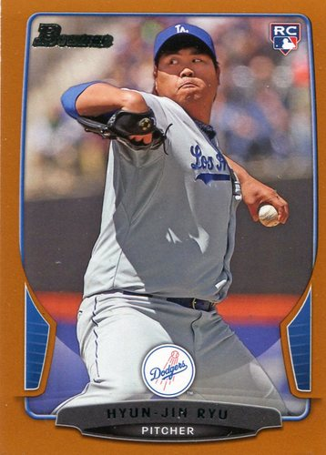 Photo of 2013 Bowman Draft Orange #30 Hyun-Jin Ryu 098/250 -- Dodgers post-season