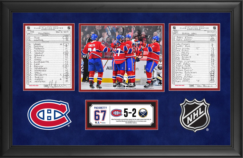 Montreal Canadiens Framed Original Line-Up Cards From January 31, 2017 vs. Buffalo Sabres - Max Pacioretty's Sixth Career Hat Trick