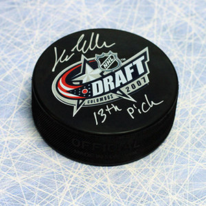 Lars Eller 2007 NHL Draft Day Autographed Puck with 13th Pick note *Montreal Canadiens*