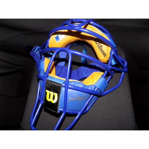 "Photo of Ivan ""Pudge"" Rodriguez Autographed Authentic Royal Blue Wilson Catcher's Mask"