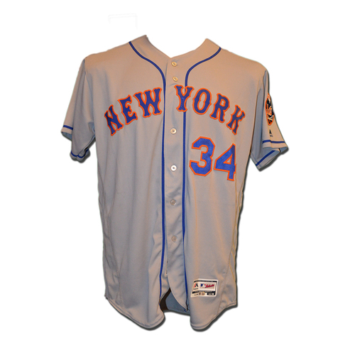 Photo of Noah Syndergaard #34 - Game Used Road Grey Jersey - 7.0 innings, ER, 9 K's - Earns Second Win of 2016 - Mets vs. Phillies - 4/18/16