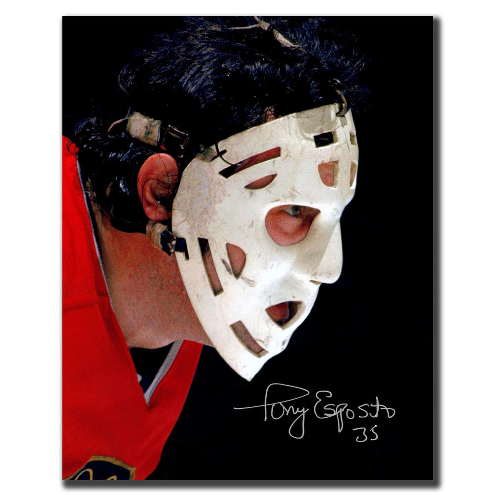 Tony Esposito Chicago Blackhawks Mask Autographed 8x10