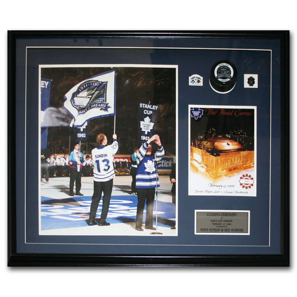 Mats Sundin & Red Horner Autographed Maple Leaf Gardens Closing Ceremony Framed Display