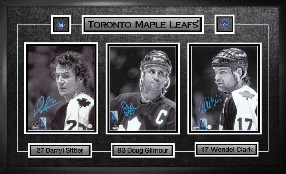 Doug Gilmour, Wendel Clark,Darryl Sittler - Multi-Signed & Framed 8x10 Maple Leafs Captains Collage