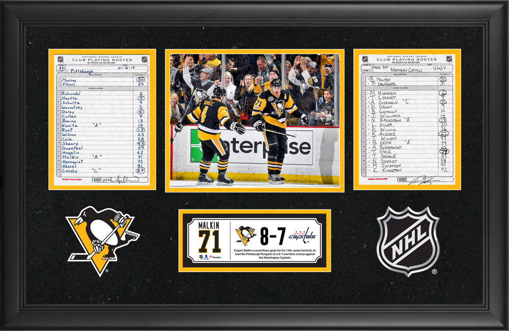 Pittsburgh Penguins Framed Original Line-Up Cards From January 16, 2017 vs. Washington Capitals - Evgeni Malkin's 13th Career Hat Trick