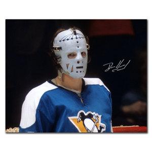 Denis Herron Pittsburgh Penguins FRANKENSTEIN MASK Autographed 8x10