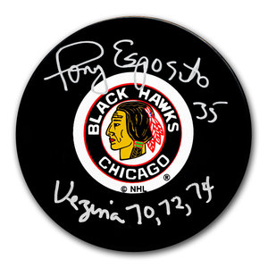 Tony Esposito Chicago Blackhawks Vezina Autographed Puck