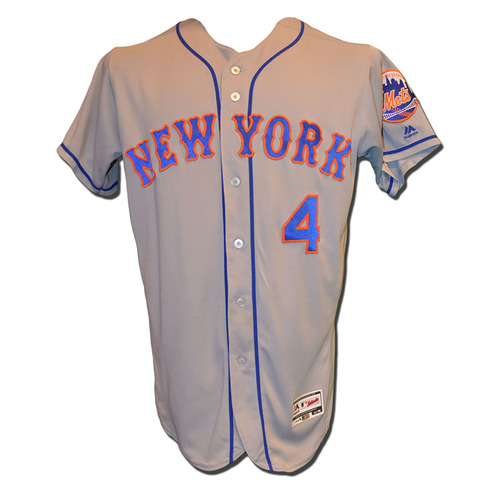 Photo of Wilmer Flores #4 - Game Used Road Grey Jersey - Mets vs. Braves - 6/10/17