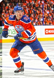Connor McDavid - 20x29 Edmonton Oilers Orange Action Canvas