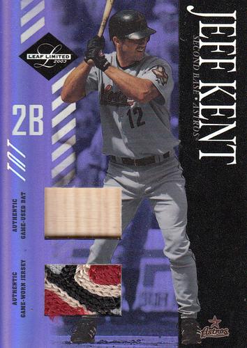 Photo of 2003 Leaf Limited TNT Prime #21 Jeff Kent Astros Bat-Jsy