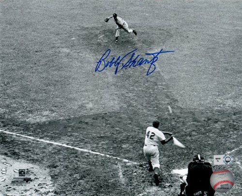 Photo of Bobby Shantz Striking Out Jackie Robinson Autographed 8x10