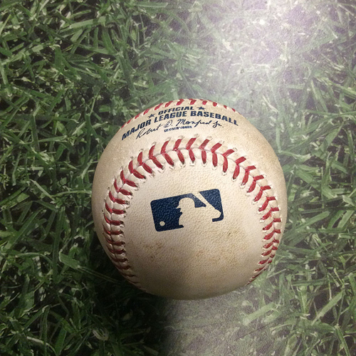 Photo of Game-Used Baseball LAD@MIL 06/28/16 - Chase Anderson to Trayce Thompson: Single