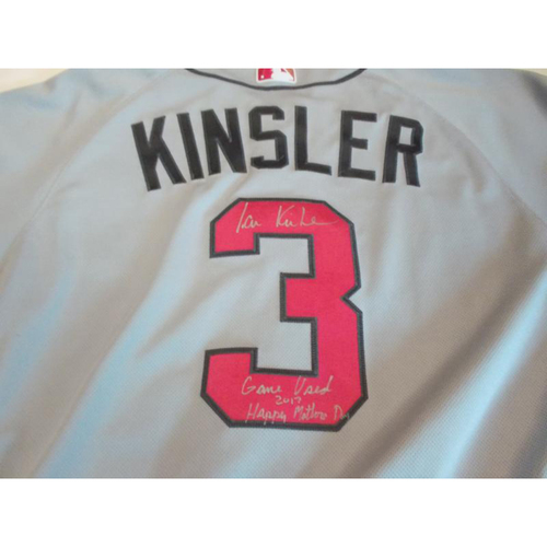 Photo of Autographed Ian Kinsler Game-Used 2017 Pink Jersey