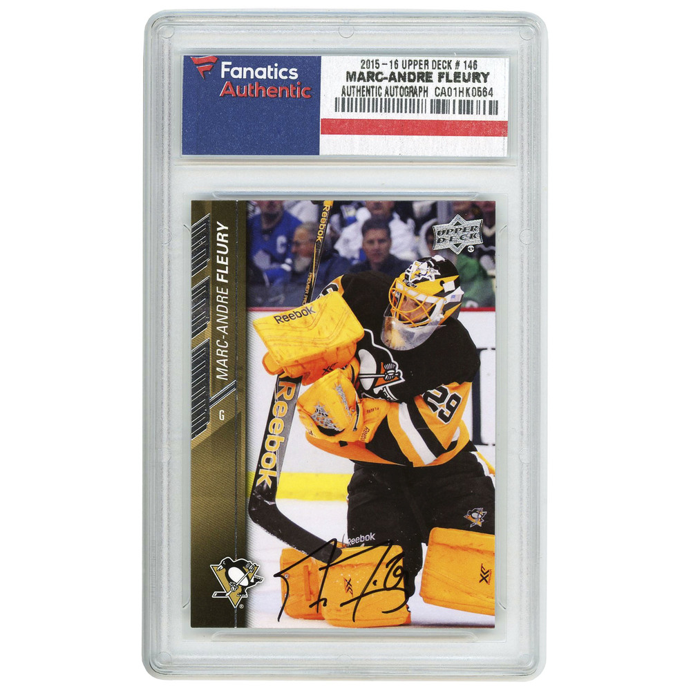 Marc-Andre Fleury Pittsburgh Penguins Autographed 2015-16 Upper Deck #146 Card