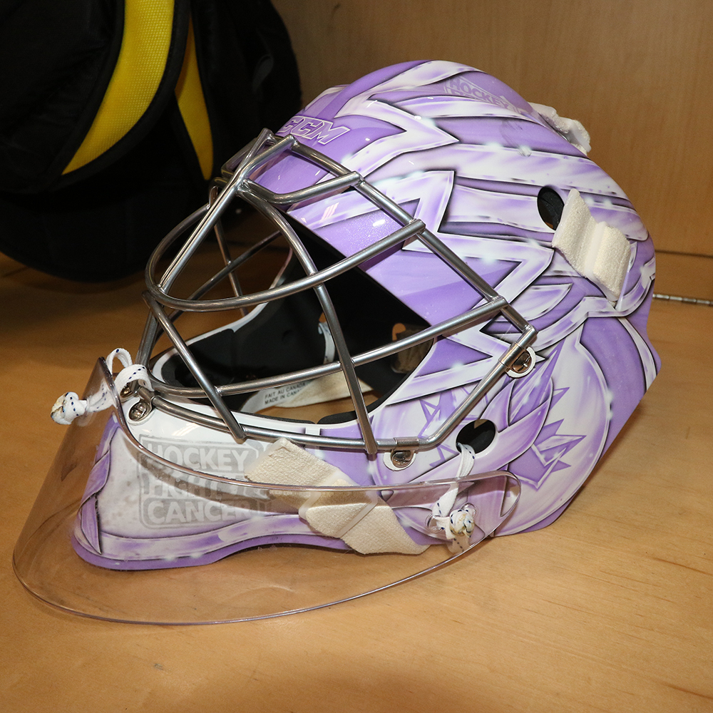 ERIC COMRIE Game and Warm Up Worn Autographed Hockey Fights Cancer Mask
