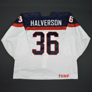Brandon Halverson - 2016 U.S. IIHF World Junior Championship - White Game-Worn Jersey