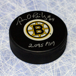 Terry O'Reilly Boston Bruins Autographed Hockey Puck W/ 2095 PIM Inscription