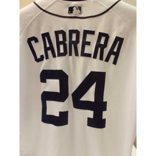 Photo of Game-Used Miguel Cabrera Home Jersey: 1000th Career RBI as a Tiger