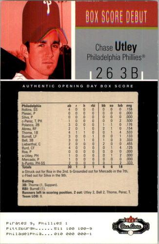 Photo of 2003 Fleer Box Score #103 Chase Utley BSD