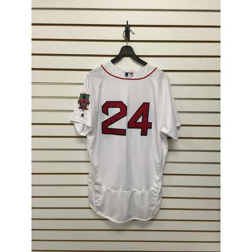 Photo of David Price Game-Used October 2, 2016 Home Jersey with David Ortiz Final Season Patch