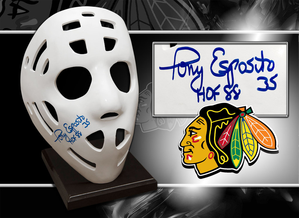 Tony Esposito Chicago Blackhawks HOF Autographed Full Size Replica Mask