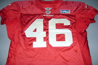 49ERS - DEREK CARRIER PRACTICE WORN RED JERSEY (2014) WASHED BY EQUIPMENT MANAGER