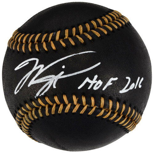 Mike Piazza New York Mets Autographed Black Leather Baseball with HOF 16 Inscription