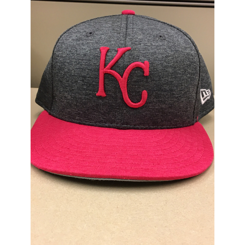 Photo of Mike Moustakas 2017 Mother's Day Game-Used Pink Hat