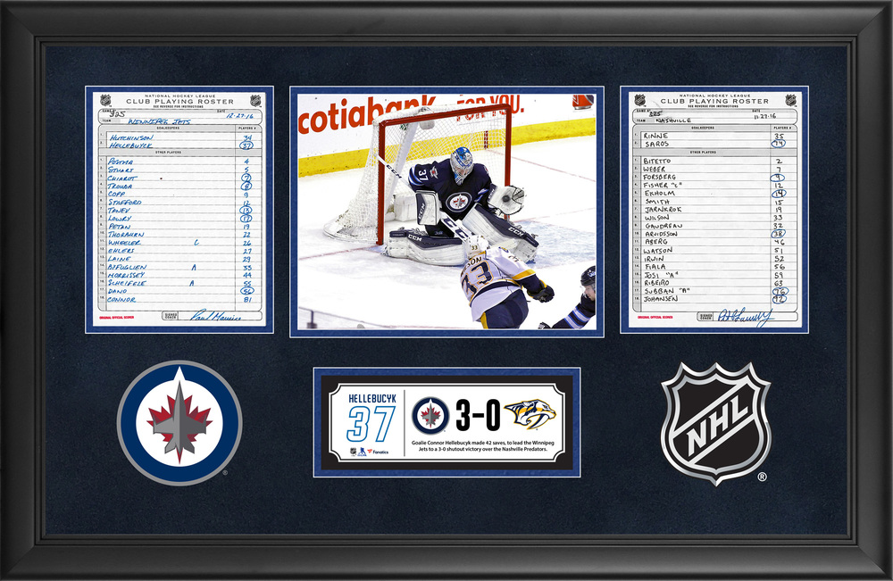 Winnipeg Jets Framed Original Line-Up Cards From November 27, 2016 vs. Nashville Predators - Connor Hellebucyk's 42-Save Shutout