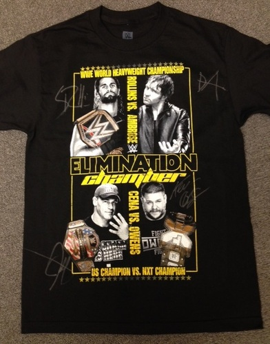 Photo of Elimination Chamber Event T-Shirt SIGNED by Dean Ambrose, Seth Rollins, John Cena, & Kevin Owens