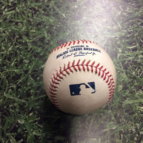 Photo of Game-Used Baseball STL@MIL 04/24/15 - Carlos Martinez to Khris Davis: Double