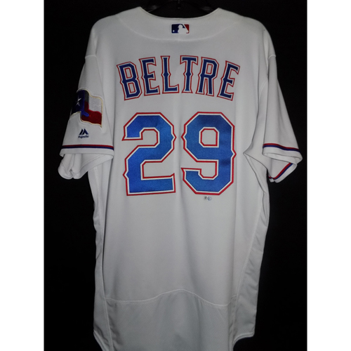 Photo of Adrian Beltre Game-Used Home White Jersey - June 17, 2017 -  Collected Career Hit # 2,956