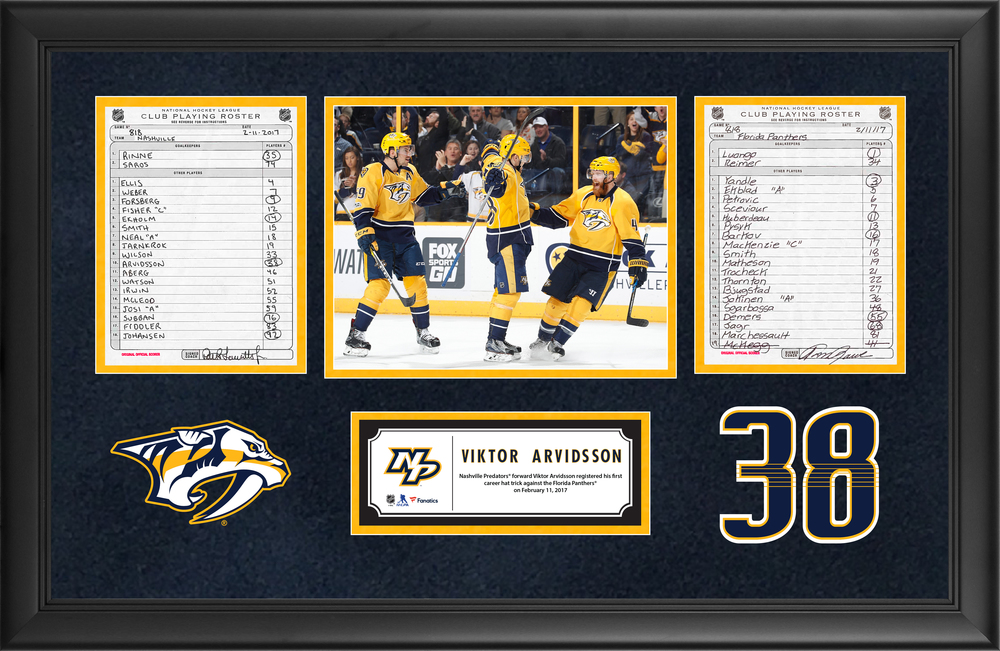 Nashville Predators Framed Original Line-Up Cards From February 11, 2017 vs. Florida Panthers - Viktor Arvidsson's First Career Hat Trick