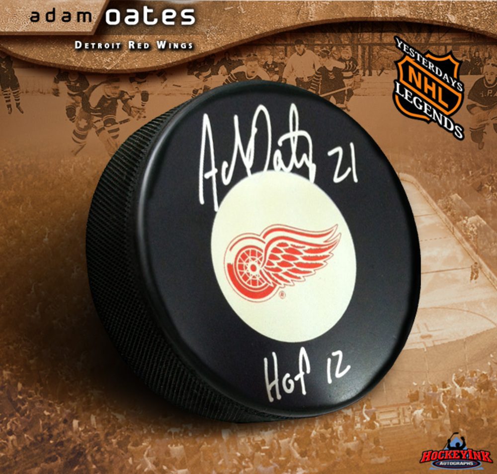 ADAM OATES Signed Detroit Red Wings Puck