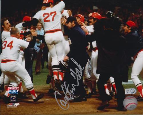 Photo of Carlton Fisk 1975 World Series Autographed 8x10